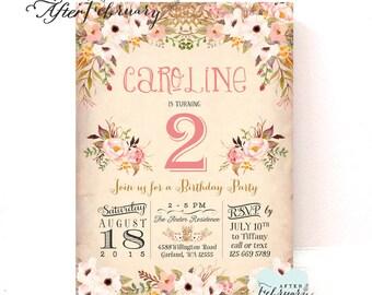 Floral Birthday Invitation Spring Flower Birthday Invitations Girl Birthday Party Invite Girl Birthday Invitation / Printable No.1278KIDS