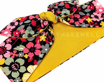 Mustard Retro Floral Flower Power Rockabilly Vintage 1950's Inspired Self Tie Head Scarf Hair Tie Headscarf Hair Bow by Miss Cherry Makewell