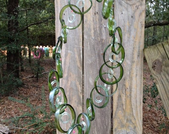 green sea foam, GLASS WINDCHIMES from RECYCLED bottles,  garden decor, wind chimes, mobiles, musical, windchimes