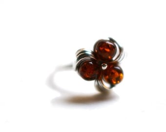 "Cherry Amber Baltic Ring ""Dew Droplets"""