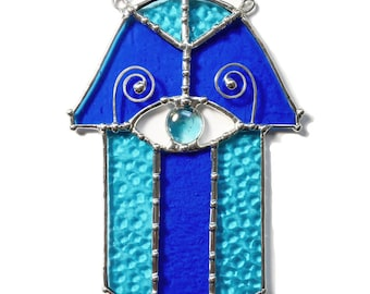 Handmade Stained Glass Hamsa in Cobalt and Aqua