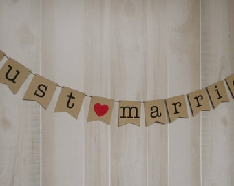 Just Married Banner . Wedding Banner . Wedding Photos . Wedding Photo Prop . Customized . Custom Color Choices
