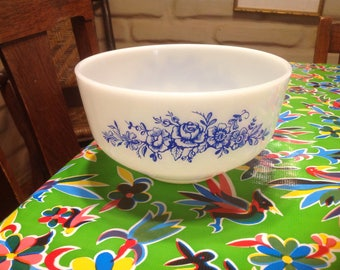 Vintage White Fire King mixing  bowl with blue floral designs