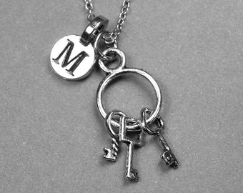 Key Ring Necklace, Keys Necklace, Key charm, antiqued silver, initial necklace, personalized jewelry, monogram letter