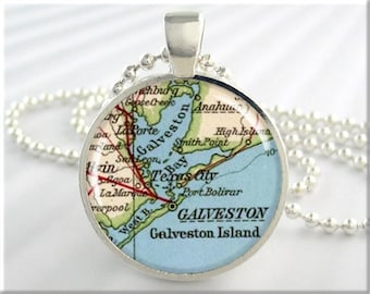 Galveston Map Pendant Galveston Island Texas Map Necklace Picture Jewelry Round Silver Gift Under 20 (439RS)