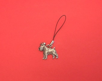 Miniature Schnauzer Pewter Mobile Phone Charm Vet Mother Father Dog Gift