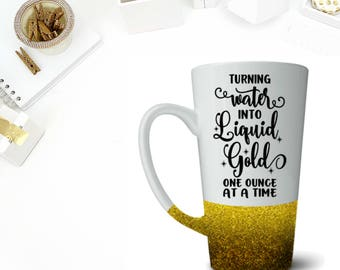 Turning Water Into Liquid Gold Latte Coffee Cup! Glitter Cup! Coffee Mug! Water Bottle!