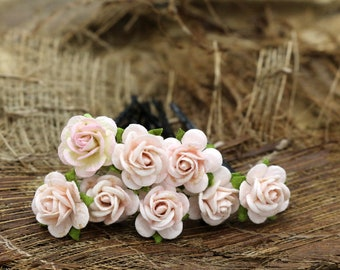 Light S Pink Roses, Mulberry Paper Flower, Hair Pins , Bridal Hair Pins, Hair Bobby Pins,Prom,Bridal Hair Accessories (FL450)