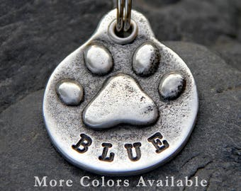 Dog Tag for Collar - Paw Print - Custom Dog Tag - Dog ID Tag - Personalized Dog Tag - Hand Stamped Dog Tag - Dog Accessories