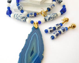 Vintage Asian Painted Ceramic Blue Glass Bead Agate Necklace Earrings Set CC2