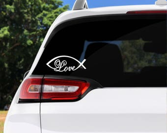 Love fish decal