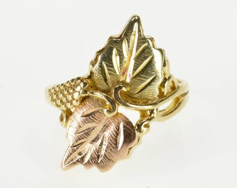 10K Two Tone Textured Leaf Pattern Freeform Ring Size 7.75 Yellow Gold