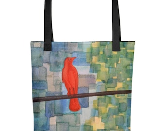 Colorful Bird Abstract Art Tote Bag Watercolor Art Shoulder Grocery Book Bags Shopping Tote Gift Bag Unique Bird Lovers Quirky Art Totes