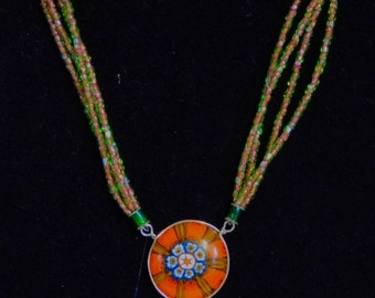 Fused glass necklace with millefiori and sterling silver