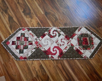 Table Runner - Table Topper - Quilted Table Runner - Red and Green Floral with Three Full Size Quilt Blocks
