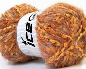 Mohair Trail Orange Gold Camel, Mohair Yarn, Worsted Yarn, DK Yarn, Knitting Yarn, Boucle Yarn