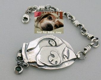 Custom Pet Jewelry - Silver Dog Bracelet - Pet Bracelet - Dog Jewelry - Personalized Pet Portrait