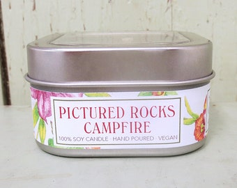 Pictured Rocks Campfire Soy Candle 8 oz. - Green Daffodil- Handpoured - Anne and Siouxsan -C8