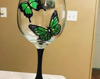 Hand-painted Butterfly Glasses Set of 2