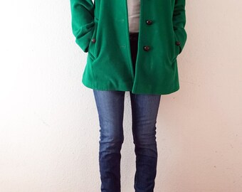 90s Emerald Green Mid Length Vintage Coat