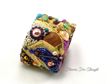 Bead Embroidery Statement Bracelet with Semi-precious Stones, One of a Kind Jewelry