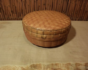 Vintage Chinese Bamboo  Basket with Lid Double Layer Weaving