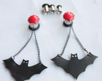 "Halloween Gothic Tunnel plug bat horror dangle gauge flare pendant 6G 4G 2G 0G 3/8"" 00G red black batman spooky dias de los muertos scary"