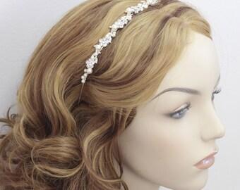 Bridal head band Wedding headband / tiara bridal pearl rhinestone Ivory white Bridesmaids Prom Flower girl