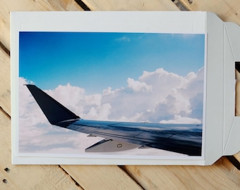 Airplane Window Seat view with wing and clouds 35mm photo print