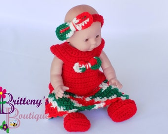 Baby Doll Clothes  Crochet Baby Doll Clothes Set  Crochet Baby Doll Shirt Skirt Booties Headband   Baby Doll Clothing  1314 inch Size