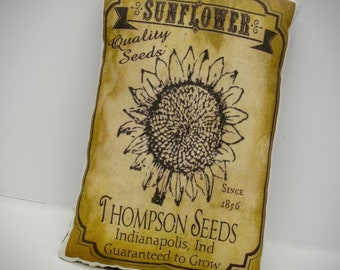 Sunflower Seed tuck | Primitive Sunflower pillow | Primitive decor | Seed packette print | Vintage sunflower seed pillow