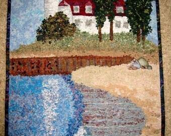 """Art Quilt  Point Betsie Lighthouse Frankfort Michigan Confetti Quilt Wall Hanging 31"""" high x 22"""" wide Beach Fiber Art Sally Manke, Fiber Art"""