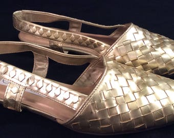 Woven leather gold flat shoes 80s size 7.5 mod funky punk