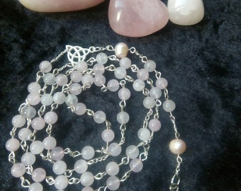 Rose Quartz Pagan Rosary Beads, witchcraft, Pagan Meditation Beads, Witch Rosary