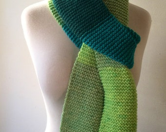 Extra long, chunky scarf, color block scarf, aqua blue, mint green, turqoise green, garter stitch scarf, fall womens accesories, winter acce