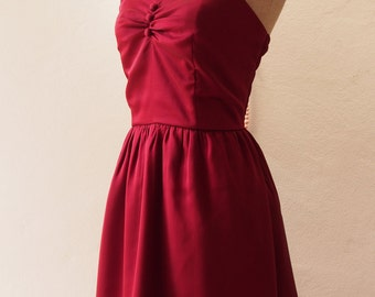 Red Prom Dress in Maroon Burgundy Dress Wine Dress Vintage Inspired Party Evening Burgundy bridesmaid dress -XS-XL, custom