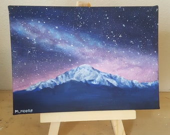 Original Mini 5x7in Pikes Peak and the Milky Way Painting with Easel