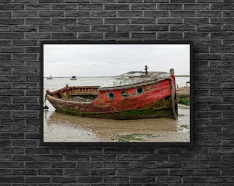Red Boat Photo - Old Boat Print - Abandoned Boat Photography - Coastal Print - Abandoned Photo - Red Wall Decor - Coastal Wall Decor