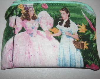 Wizard of Oz Dorothy handmade fabric coin change purse zipper pouch