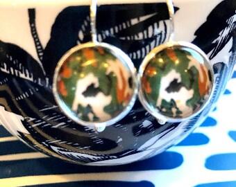 Mountain Dew cabochon earrings- 16mm
