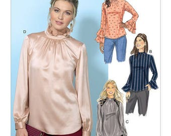 Butterick Pattern B6487 Misses' Tops with Gather-Detail Mock-Neck, and Sleeve Variations