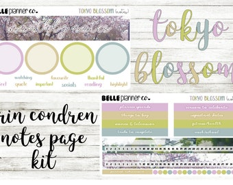 Tokyo Blossom Notes Page Sticker Kit for Erin Condren