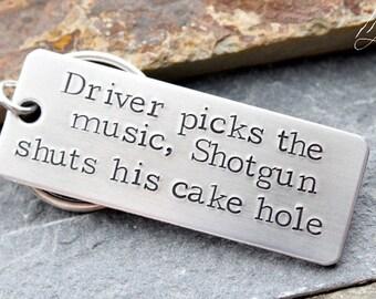 Driver Picks The Music, Shotgun Shuts His Cake hole, Supernatural Key chains, SPN Jewelry