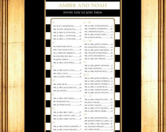 Striped Seating Chart, Digital, Black and White Table Assignment, Wedding Reception, Modern, Choose sm, md or lg for approx. 130-300 guests