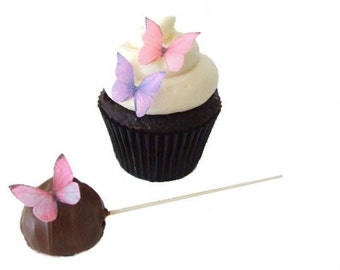 24 Edible Butterflies for Cakes and Cupcakes - Mini Pink and Purple - Kids Cakes