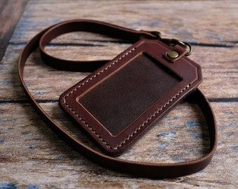 Leather ID Holder with Personalised Lanyard, ID Card Holder, Pass Holder, Badge Holder, Anniversary Gift