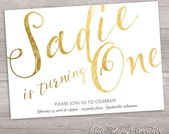 Customizable Gold Foil Effect Birthday Party Invitation // Digital, Printable File