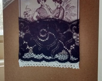Vintage style ladies greeting card - blank inside
