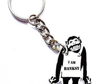 I am Banksy -  Keychain - Banksy - Graffiti - Street Art - Satirical Gift - Stencil - Dark humor - Gift for Art Lovers - Birthday - Painter