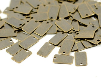 500 Pcs. Antique Brass 6x10 mm Rectangle  Stamping Tag Findings